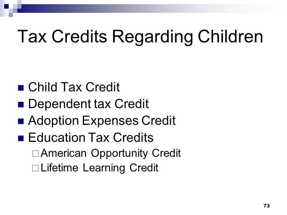 Tax Credits Regarding Children