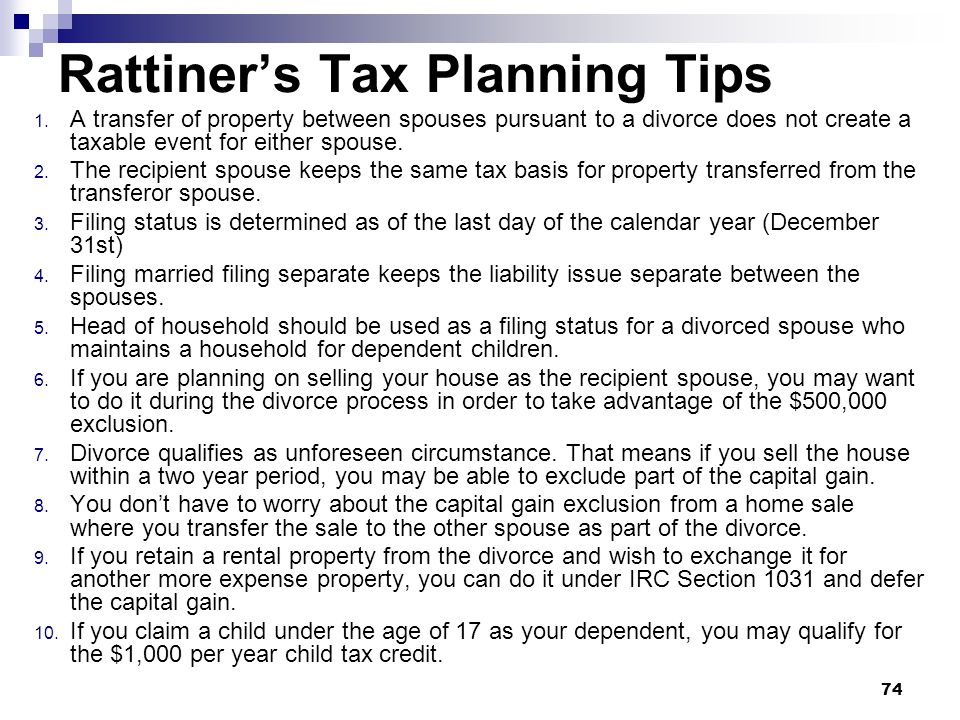Rattiner's Tax Planning Tips