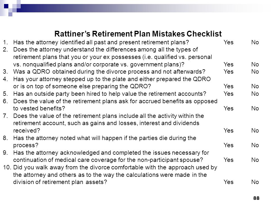Rattiner's Retirement Plan Mistakes Checklist