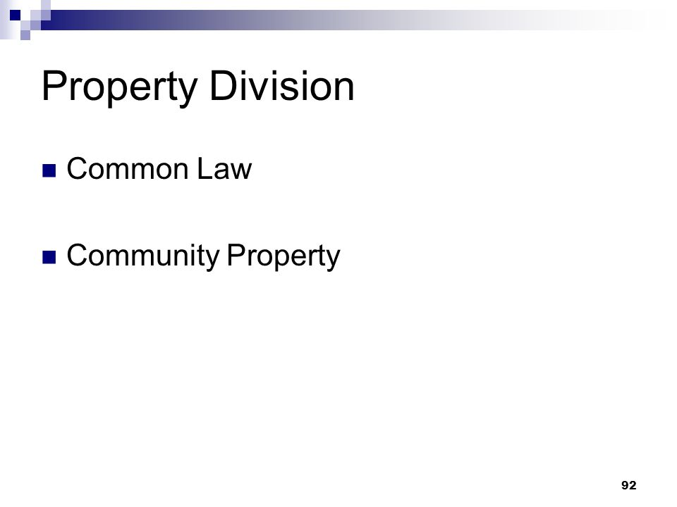 Property Division Common Law Community Property