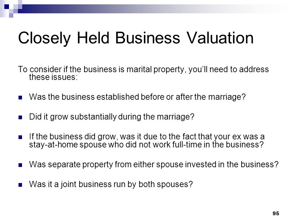 Closely Held Business Valuation