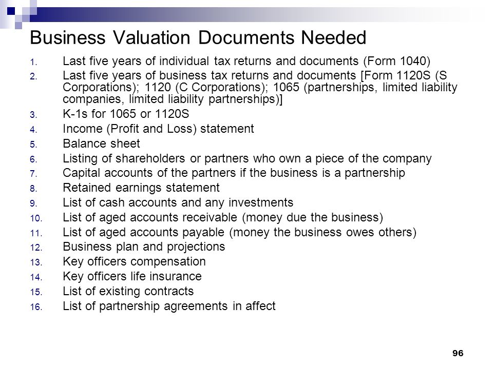 Business Valuation Documents Needed