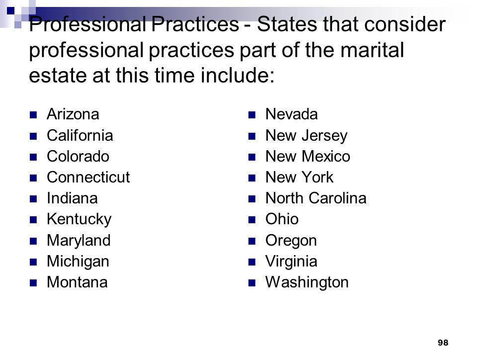 Professional Practices - States that consider professional practices part of the marital estate at this time include: