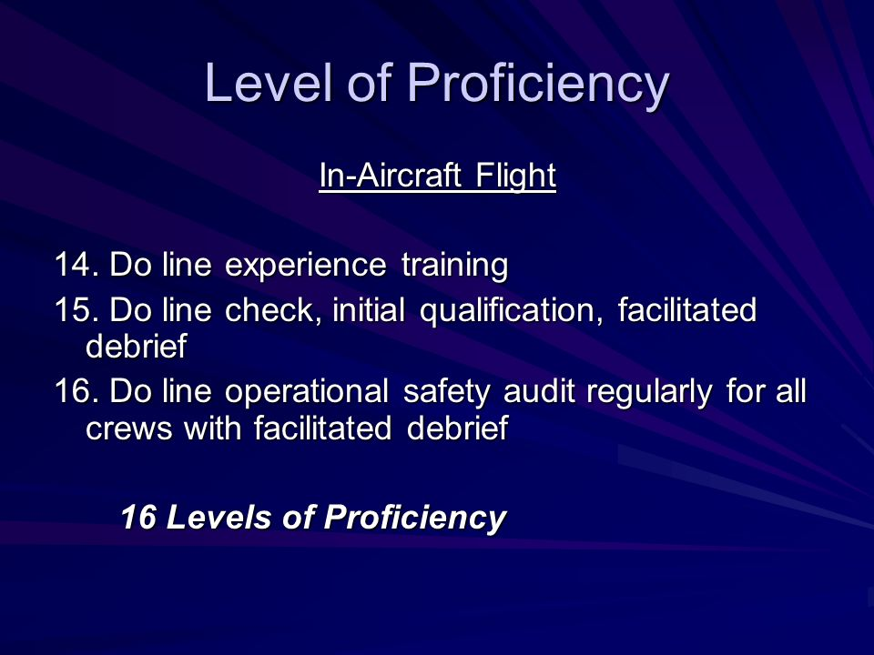 Level of Proficiency In-Aircraft Flight