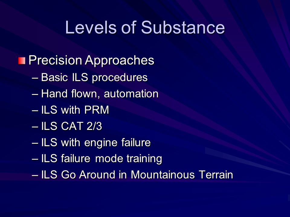 Levels of Substance Precision Approaches Basic ILS procedures