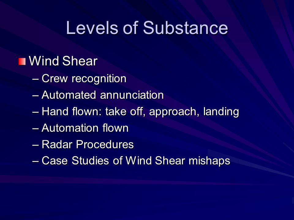 Levels of Substance Wind Shear Crew recognition Automated annunciation