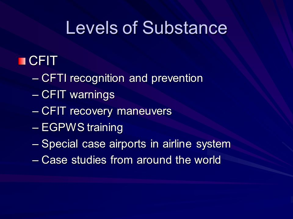 Levels of Substance CFIT CFTI recognition and prevention CFIT warnings
