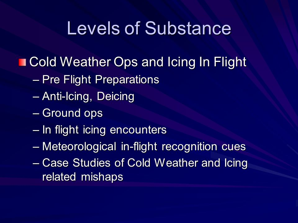 Levels of Substance Cold Weather Ops and Icing In Flight