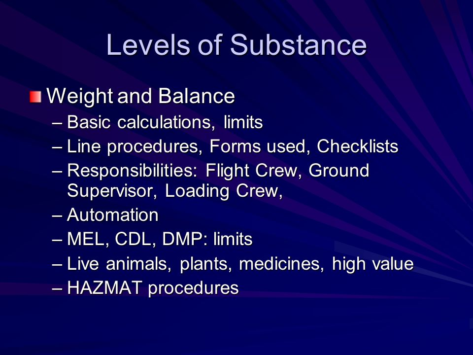 Levels of Substance Weight and Balance Basic calculations, limits