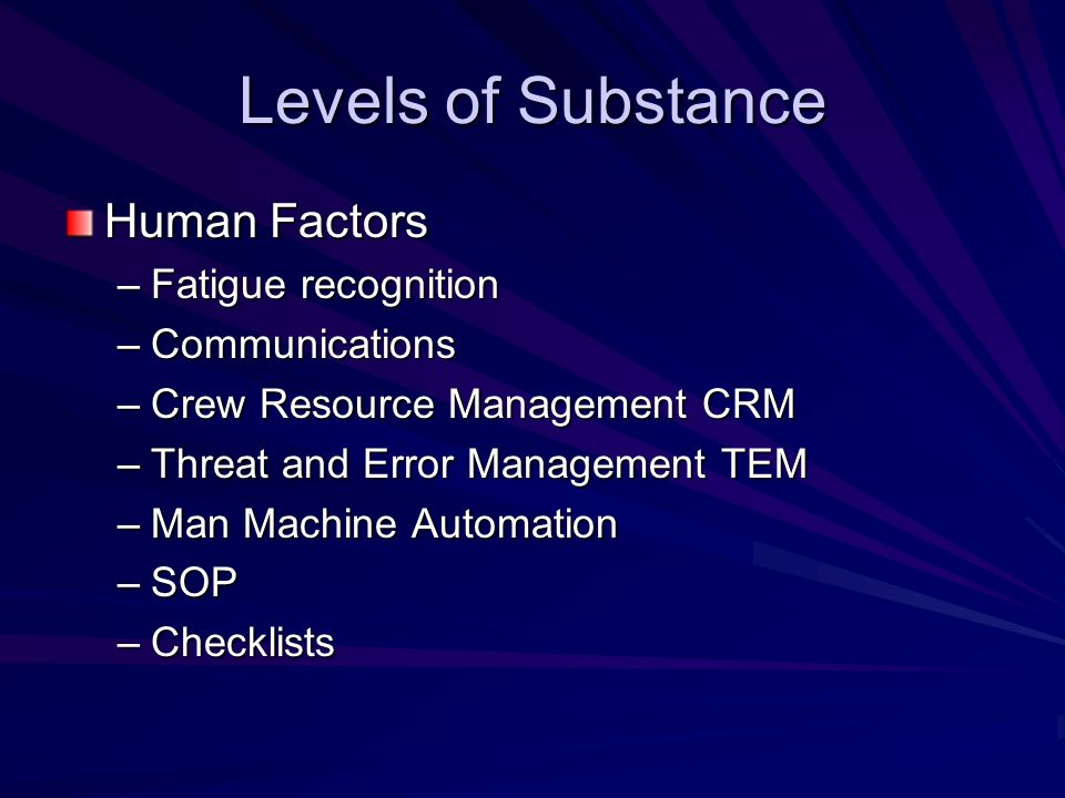 Levels of Substance Human Factors Fatigue recognition Communications