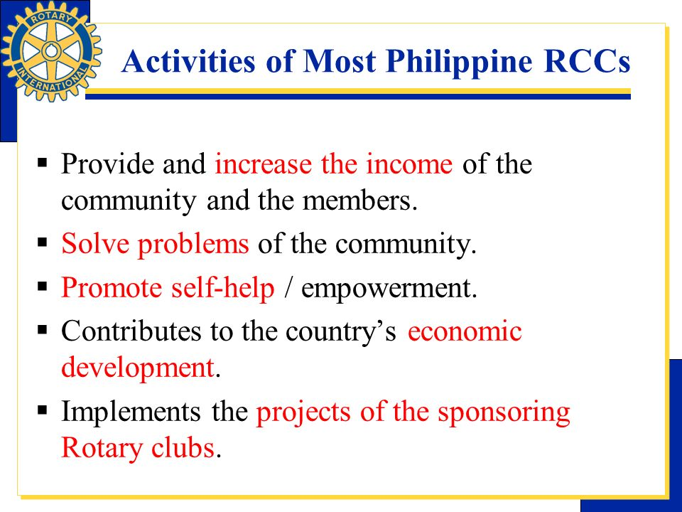 Activities of Most Philippine RCCs