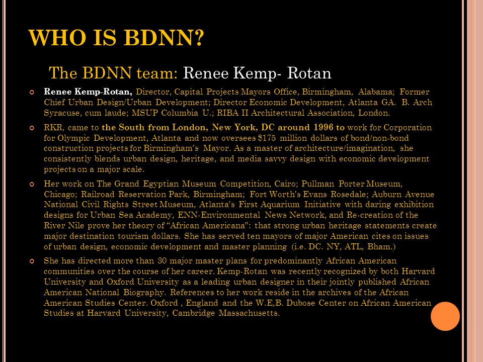 WHO IS BDNN The BDNN team: Renee Kemp- Rotan