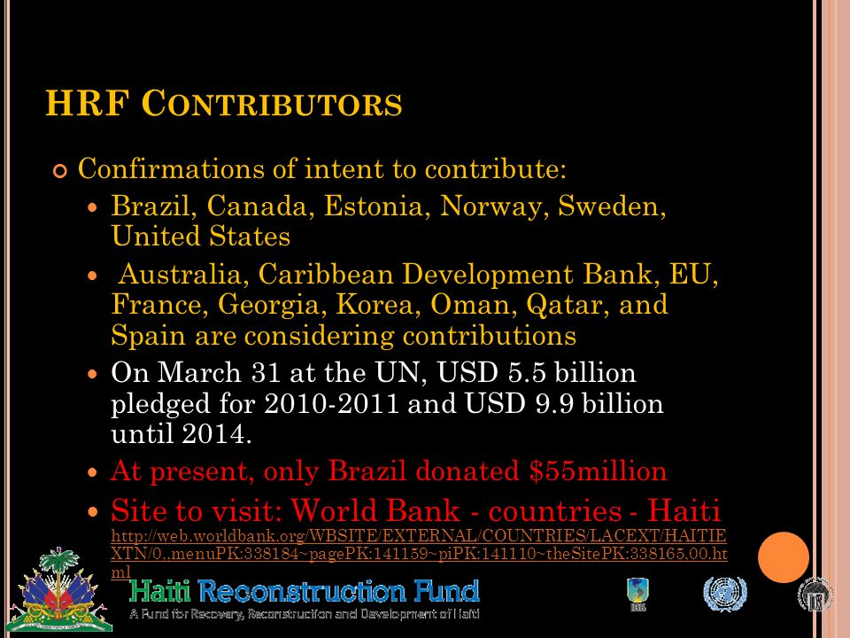 HRF Contributors Confirmations of intent to contribute: Brazil, Canada, Estonia, Norway, Sweden, United States.