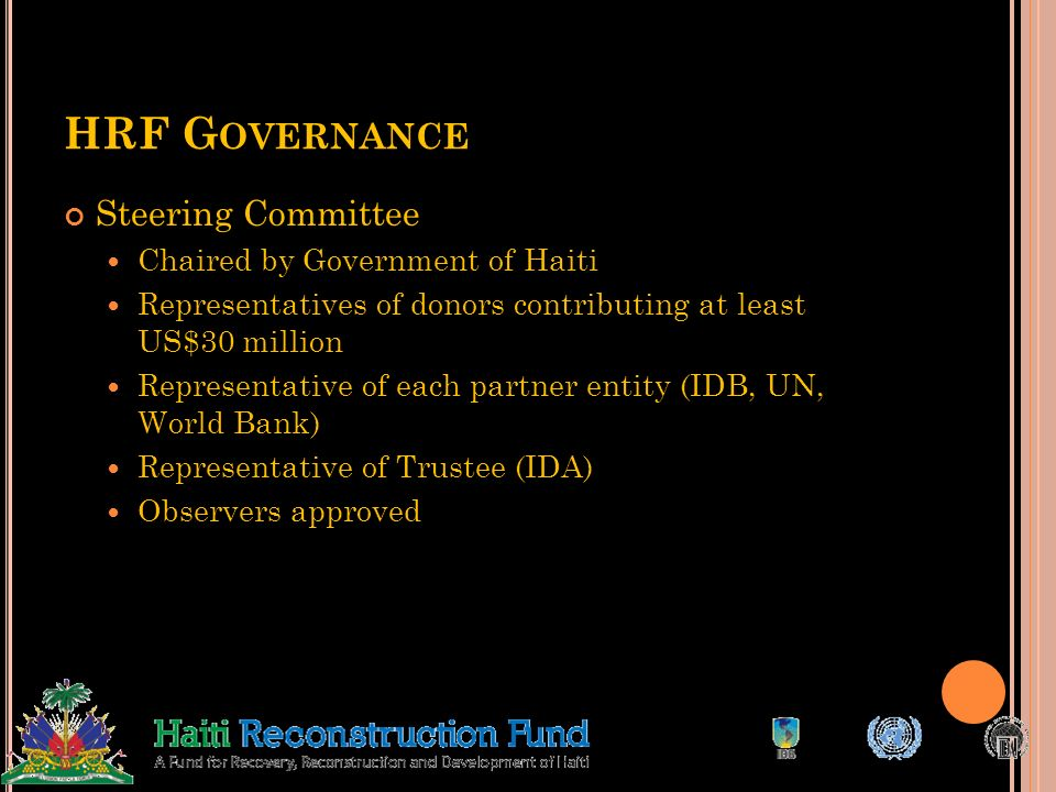 HRF Governance Steering Committee Chaired by Government of Haiti