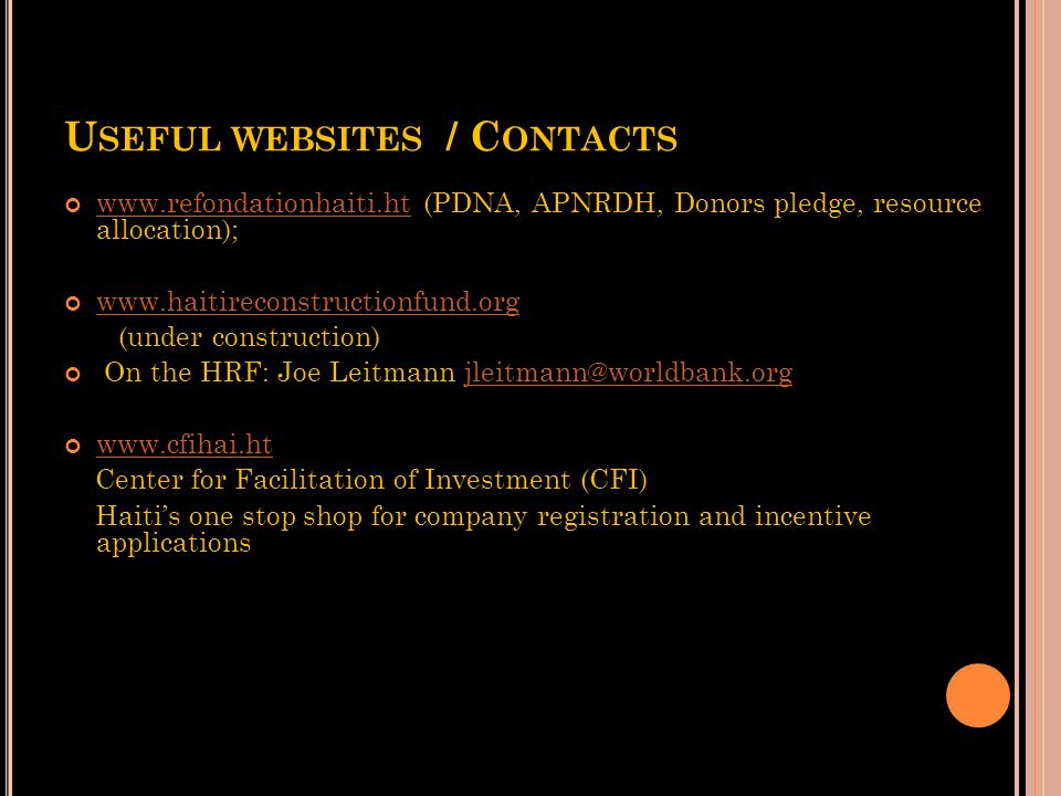 Useful websites / Contacts