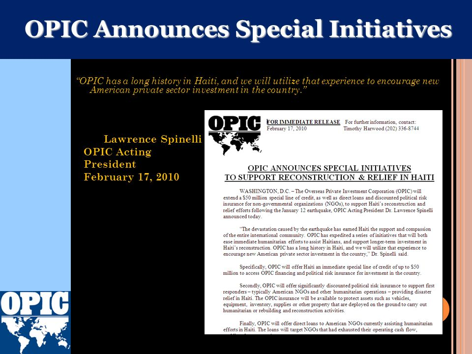 OPIC Announces Special Initiatives