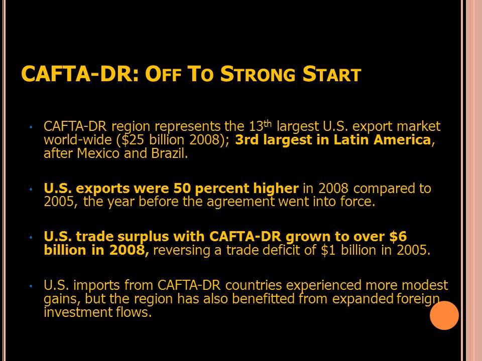 CAFTA-DR: Off To Strong Start