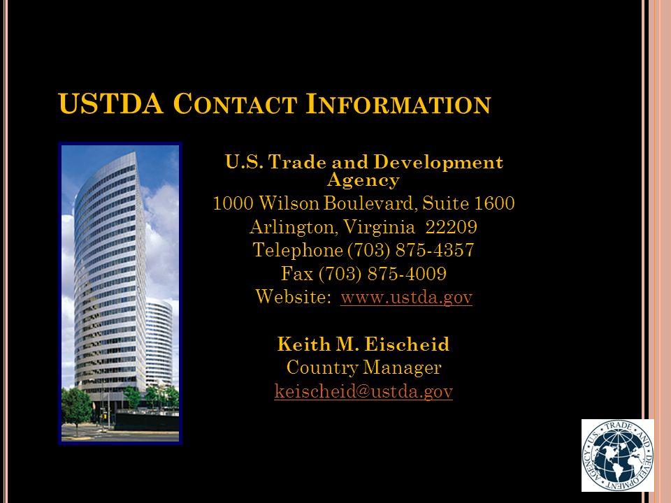 USTDA Contact Information
