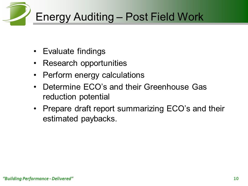 Energy Auditing – Post Field Work