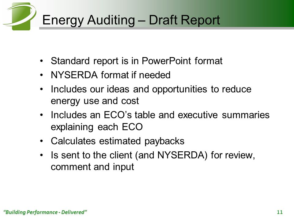 Energy Auditing – Draft Report