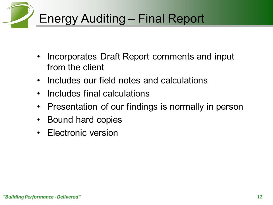 Energy Auditing – Final Report