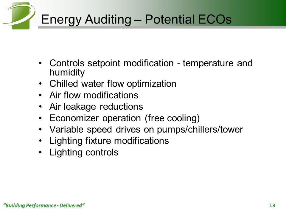 Energy Auditing – Potential ECOs