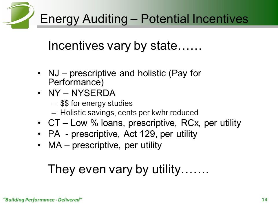 Energy Auditing – Potential Incentives
