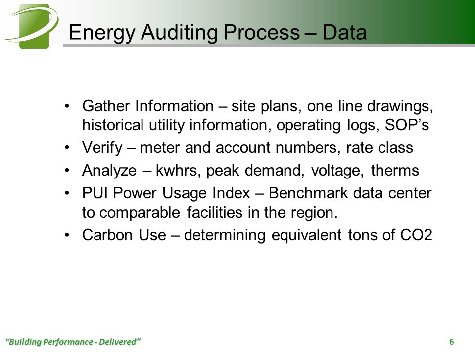 Energy Auditing Process – Data