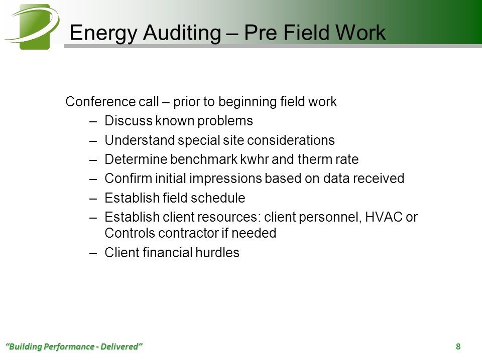 Energy Auditing – Pre Field Work