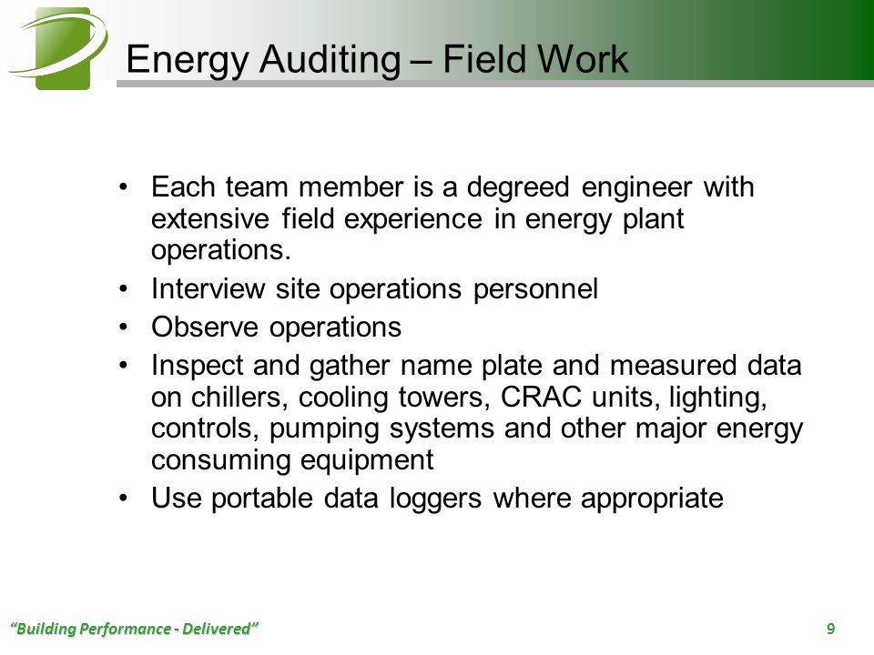 Energy Auditing – Field Work