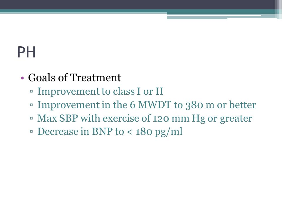 PH Goals of Treatment Improvement to class I or II