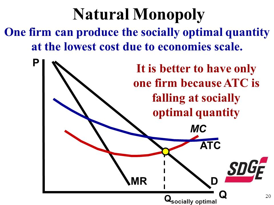 Natural MonopolyOne firm can produce the socially optimal quantity at the lowest cost due to economies scale.