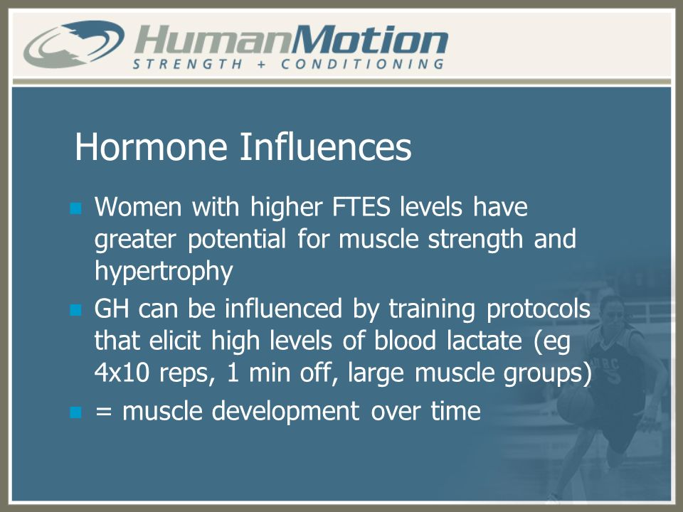 Hormone Influences Women with higher FTES levels have greater potential for muscle strength and hypertrophy.