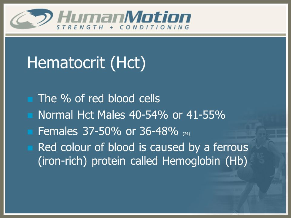 Hematocrit (Hct) The % of red blood cells