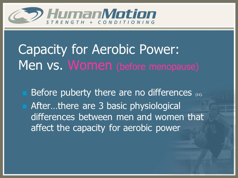 Capacity for Aerobic Power: Men vs. Women (before menopause)
