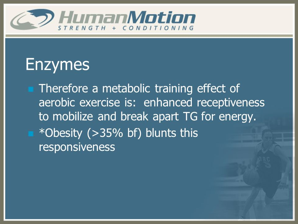 Enzymes Therefore a metabolic training effect of aerobic exercise is: enhanced receptiveness to mobilize and break apart TG for energy.