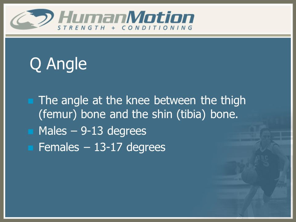 Q Angle The angle at the knee between the thigh (femur) bone and the shin (tibia) bone. Males – 9-13 degrees.