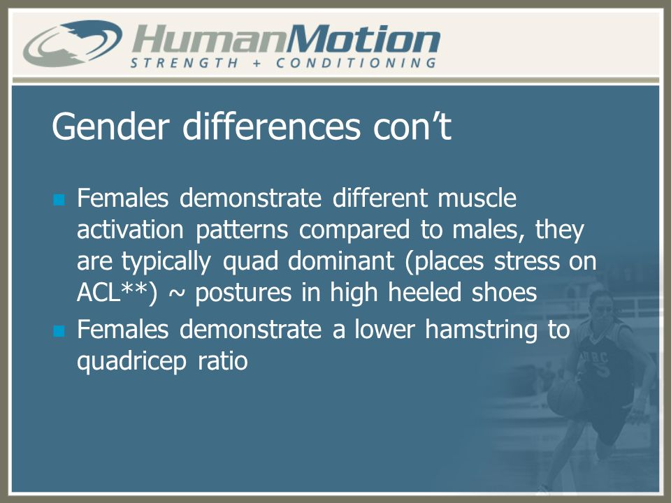 Gender differences con't