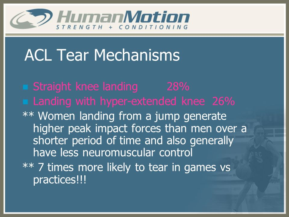 ACL Tear Mechanisms Straight knee landing 28%