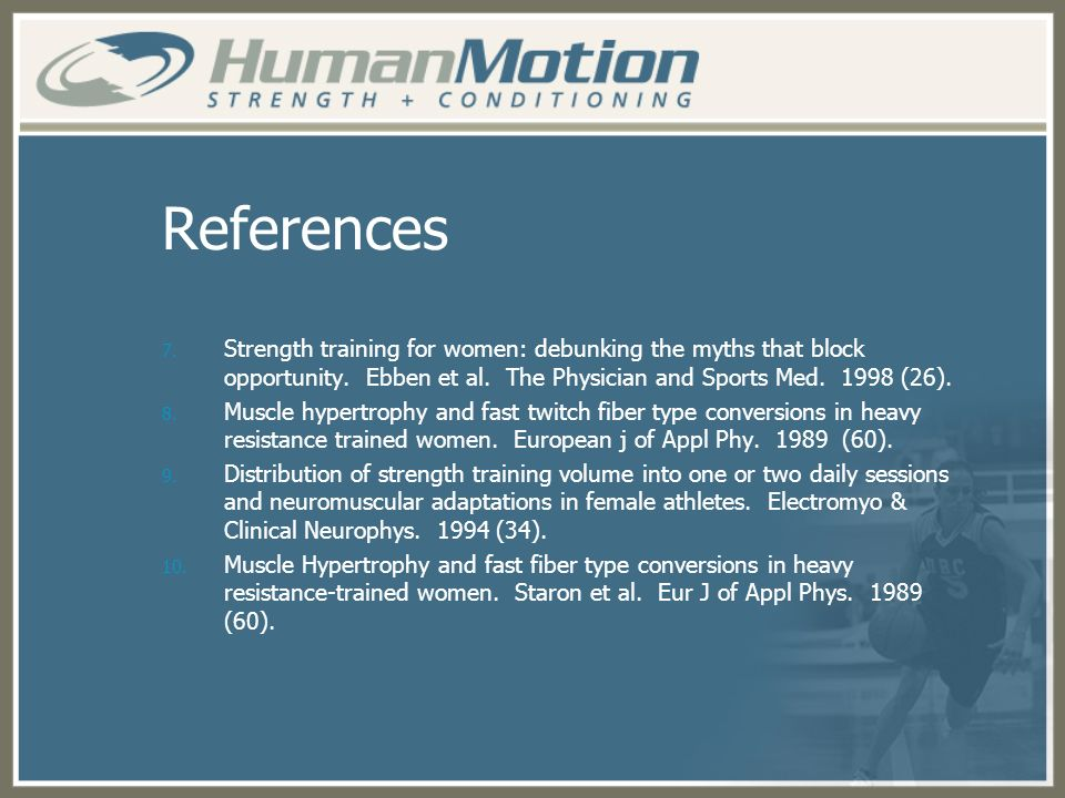 References Strength training for women: debunking the myths that block opportunity. Ebben et al. The Physician and Sports Med (26).