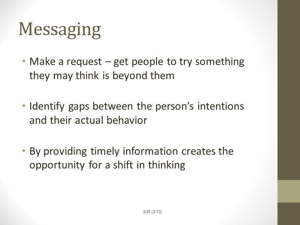 Messaging Make a request – get people to try something they may think is beyond them.