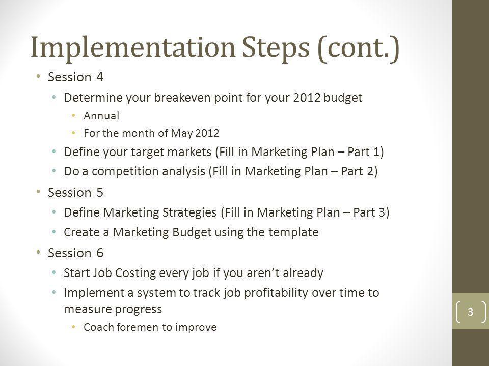 Implementation Steps (cont.)