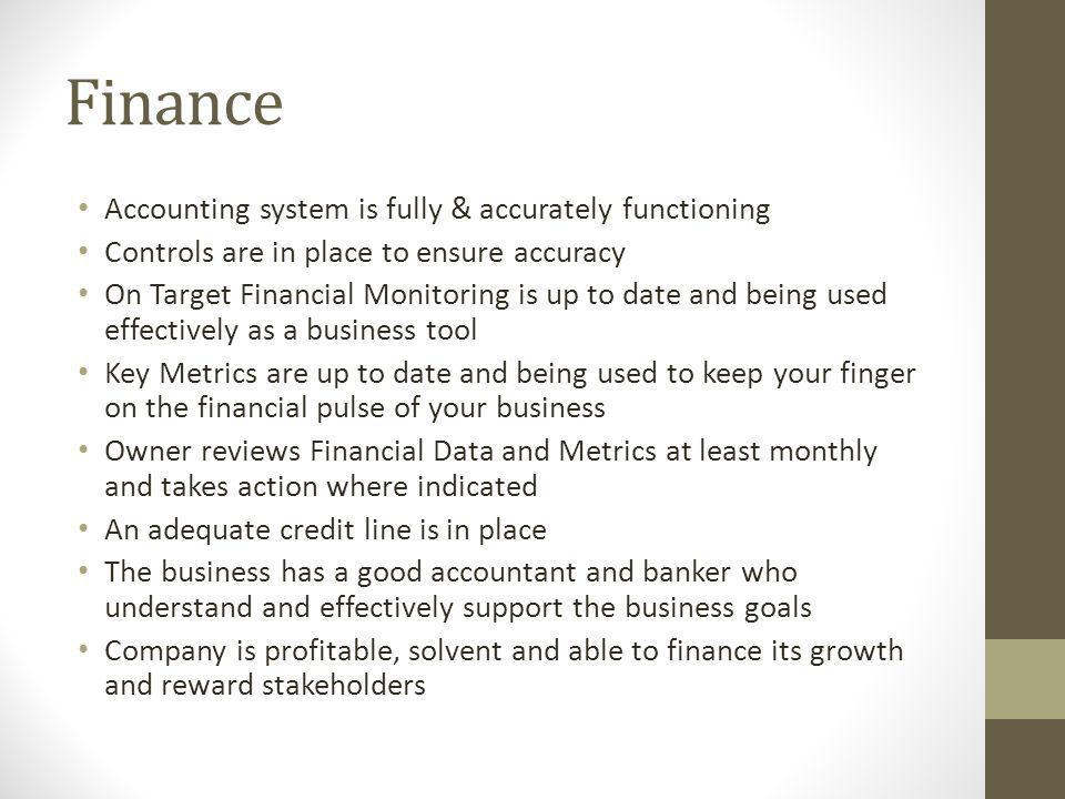 Finance Accounting system is fully & accurately functioning