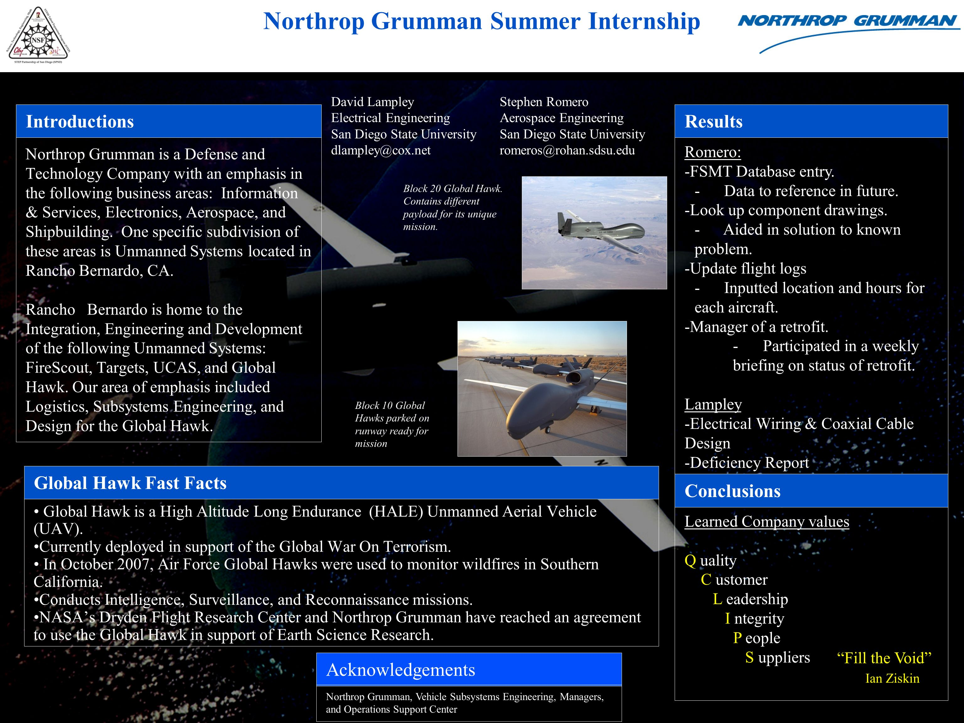 Northrop Grumman Summer Internship