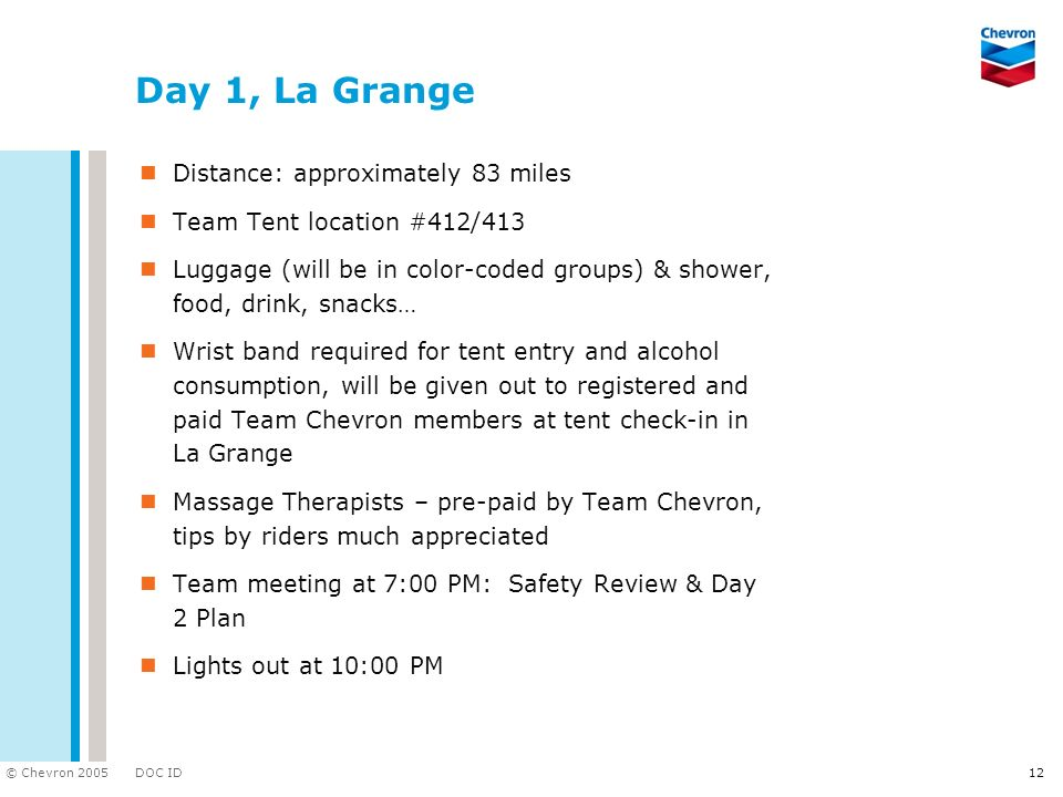 Day 1, La Grange Distance: approximately 83 miles