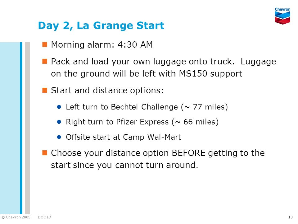 Day 2, La Grange Start Morning alarm: 4:30 AM