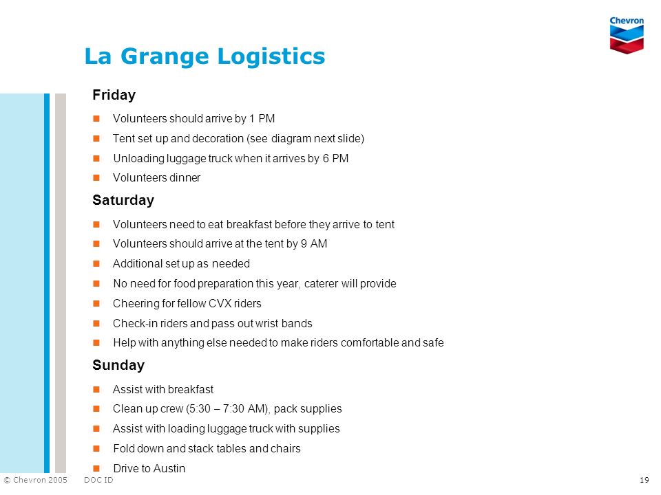 La Grange Logistics Friday Saturday Sunday