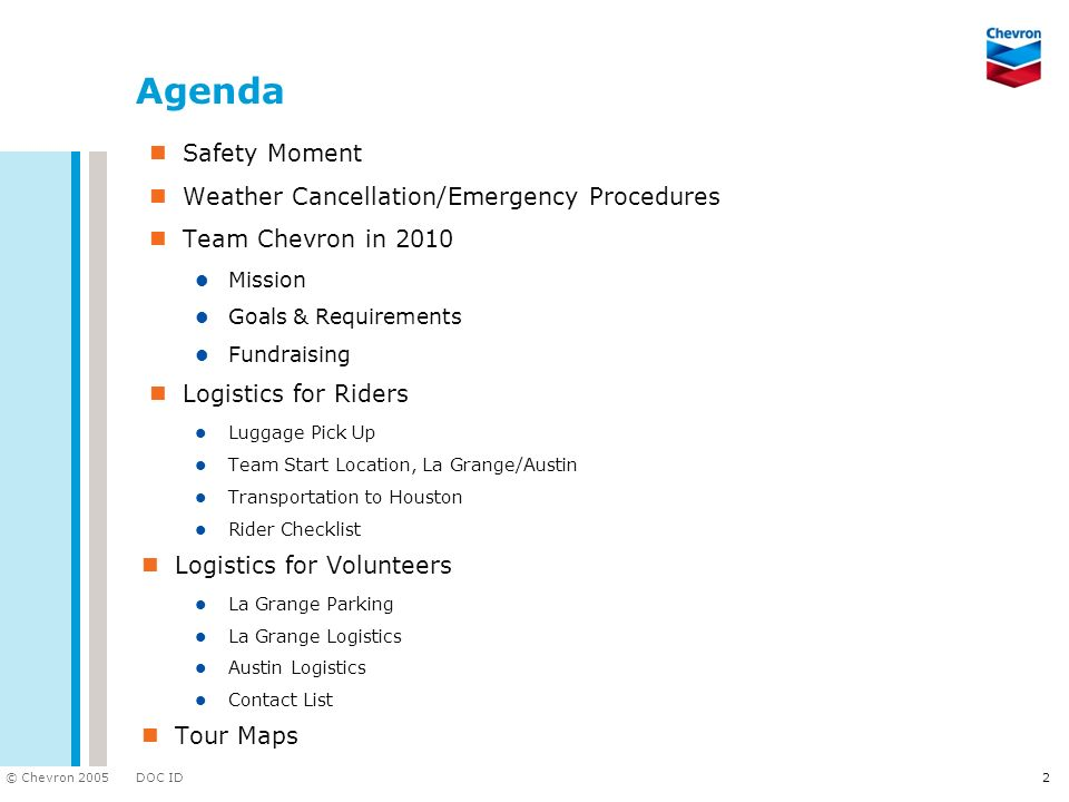 Agenda Safety Moment Weather Cancellation/Emergency Procedures