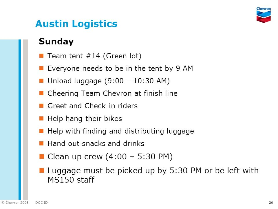 Austin Logistics Sunday Clean up crew (4:00 – 5:30 PM)