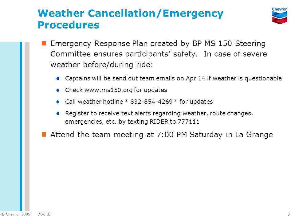 Weather Cancellation/Emergency Procedures